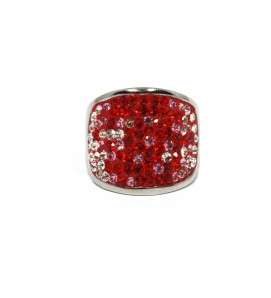 Ring with crystals Red Silver