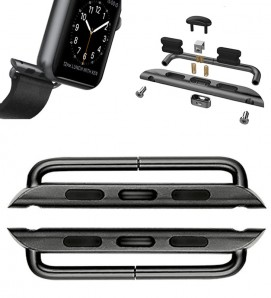 Black Stainless steel 316L connector For Apple Watch - 2Pcs