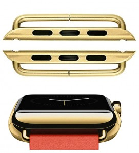 Gold Stainless steel 316L connector For Apple Watch - 2Pcs